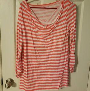 Gap Maternity Coral Striped 3/4 Sleeve Shirt